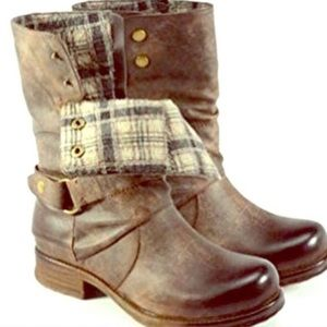 {CORKYS} Brown Crow Fold-over Motorcycle Boots